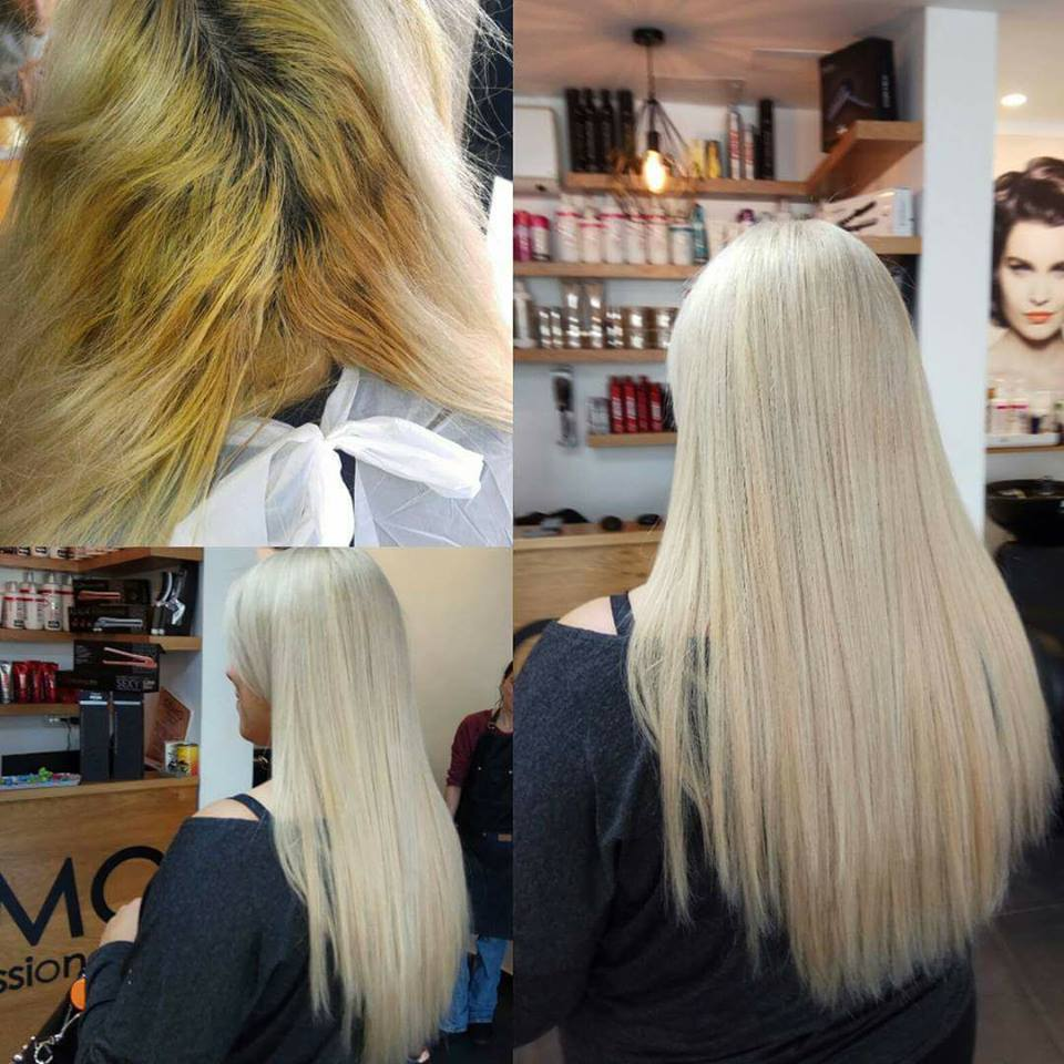 בלונד עם תוספות שיער  רפאל אוסמו, מעצב השיער מנהריה