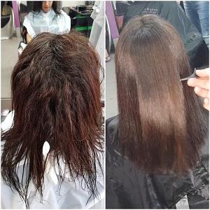 החלקה אורגנית בראש שקט – עיצוב שיער סגול