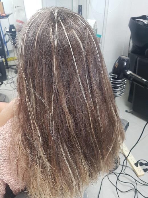 לפני החלקת שיער  ז