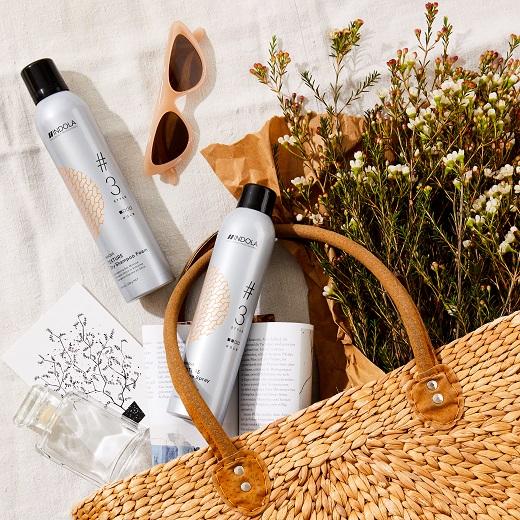 מוצרי עיצוב שיער אינדולה שמפו יבשו ו-ספריי טקסטורה
